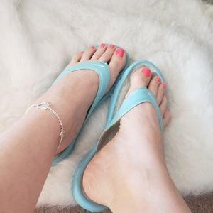 Nike comfort flip flops sz 9 Womens Light blue